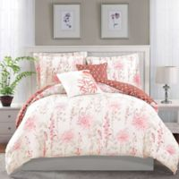 Boho Living Fresh Meadow King Comforter Set in Coral (5-Piece Set)