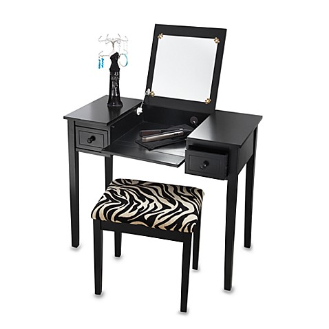 Black vanity set bed bath beyond for Black makeup table with mirror