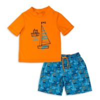 Kiko & Max Size 3-6M Boats Rashguard Set in Orange