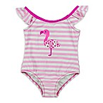 Kiko & Max Size 6-9M Flower Flamingo Ruffle Sleeve Swimsuit in Pink/White
