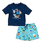 Kiko & Max Size 6-9M Pirates Rashguard Set in Navy
