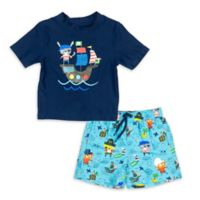 Kiko & Max Size 3-6M Pirates Rashguard Set in Navy