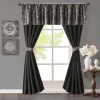 Madison Park Aubrey Rod Pocket 5-Piece Faux Silk Window Curtain Panel and Valance Set in Black