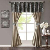 Madison Park Aubrey Rod Pocket 5-Piece Faux Silk Window Curtain Panel and Valance Set in Black/Taupe