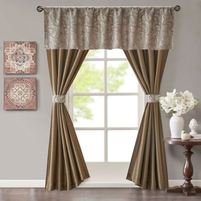 Madison Park Aubrey Rod Pocket 5 Piece Faux Silk Window Curtain Panel And Valance Set