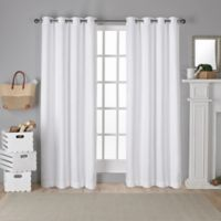 Shantung 84-Inch Room Darkening Window Curtain Panel Pair in White