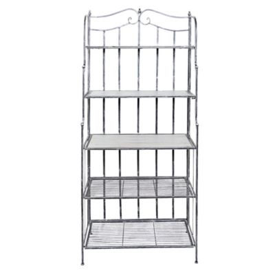 corner storage and p with bakers frame wrought iron htm wood shelves rack woo