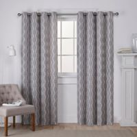 Baroque 96-Inch Grommet Top Window Curtain Panel Pair in Ash Grey