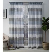 Exclusive Home Bern 84-Inch Rod Pocket Sheer Window Curtain Panel Pair in Indigo