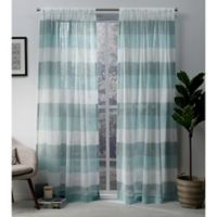 Exclusive Home Bern 84-Inch Rod Pocket Sheer Window Curtain Panel Pair in Teal