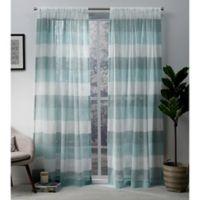 Exclusive Home Bern 96-Inch Rod Pocket Sheer Window Curtain Panel Pair in Teal