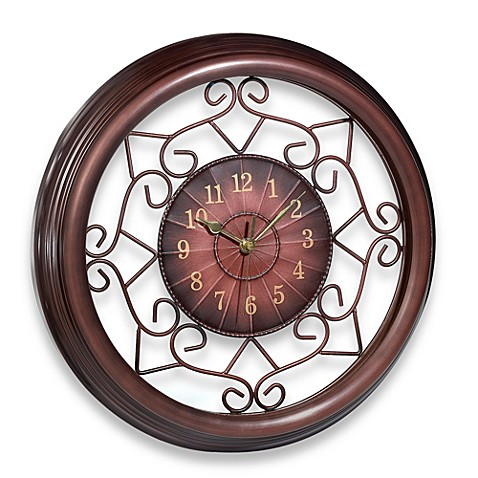 wrought iron scroll 15 3 39 39 wall clock bed bath beyond