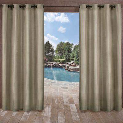 Biscayne 108 Inch Grommet Top Indoor Outdoor Window Curtain Panel Pair In Natural