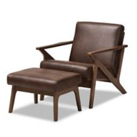 Baxton Studio Bianca Chair and Ottoman Set in Dark Brown