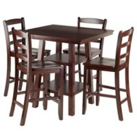 Winsome Orlando 5-Piece High Table and Stool Set in Walnut