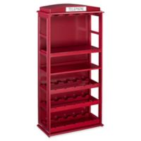 Southern Enterprises Phone Booth Bar Cabinet with Wine Storage in Red
