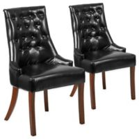 Flash Furniture Paddington Series Leather Tufted Chairs in Black (Set of 2)