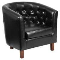 Flash Furniture Cranford Leather Tufted Barrel Chair in Black