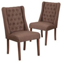 Flash Furniture Preston Series Fabric Tuffed Chairs in Brown (Set of 2)