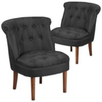 Flash Furniture Kenley Series Fabric Tufted Chair in Black(Set of 2)