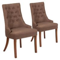 Flash Furniture Paddington Upholstered Side Chair in Brown (Set of 2)
