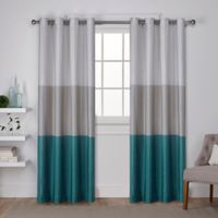 Chateau 108-Inch Grommet Top Window Curtain Panel Pair in Teal