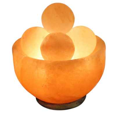 Himalayan Salt Bowl Lamp with Massage Stones