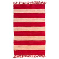AM Home Cabana Striped 5' x 7' Area Rug in Red