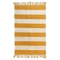 AM Home Cabana Striped 5' x 7' Area Rug in Yellow