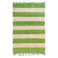 AM Home Cabana Striped 5' x 7' Area Rug in Green