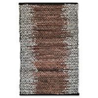 Recycled Faded Leather 3'4 x 5' Area Rug in Chocolate