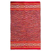 Jute and Cotton Chevron 3'4 x 5' Area Rug in Red
