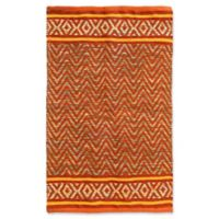 Jute and Cotton Chevron 3'4 x 5' Area Rug in Orange