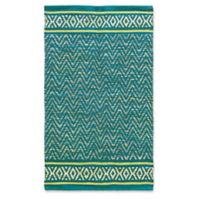 Jute and Cotton Chevron 3'4 x 5' Area Rug in Teal