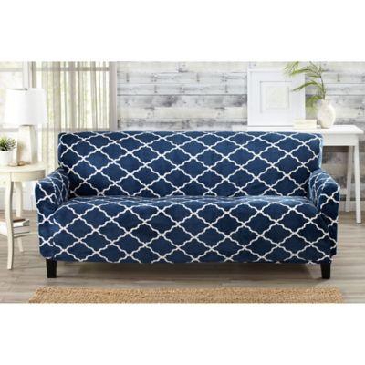 Great Bay Home Magnolia Velvet Plush Strapless Sofa Slipcover In Navy