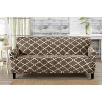 Great Bay Home Magnolia Velvet Plush Strapless Sofa Slipcover in Brown