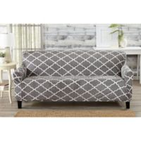 Great Bay Home Magnolia Velvet Plush Strapless Sofa Slipcover in Grey
