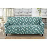 Great Bay Home Magnolia Velvet Plush Strapless Sofa Slipcover in Aqua