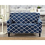 Great Bay Home Magnolia Velvet Plush Strapless Loveseat Slipcover in Navy