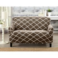 Great Bay Home Magnolia Velvet Plush Strapless Loveseat Slipcover in Brown