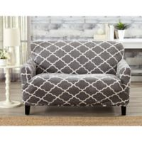 Great Bay Home Magnolia Velvet Plush Strapless Loveseat Slipcover in Grey