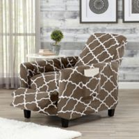 Great Bay Home Magnolia Velvet Plush Strapless Recliner Slipcover in Brown