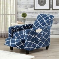Great Bay Home Magnolia Velvet Plush Strapless Recliner Slipcover in Navy