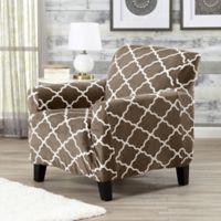 Great Bay Home Magnolia Velvet Plush Strapless Chair Slipcover in Brown