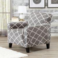 Great Bay Home Magnolia Velvet Plush Strapless Chair Slipcover in Grey