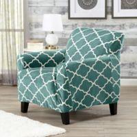 Great Bay Home Magnolia Velvet Plush Strapless Chair Slipcover in Aqua