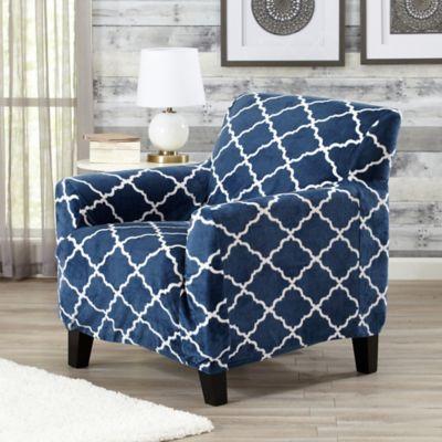 Merveilleux Great Bay Home Magnolia Velvet Plush Strapless Chair Slipcover In Navy