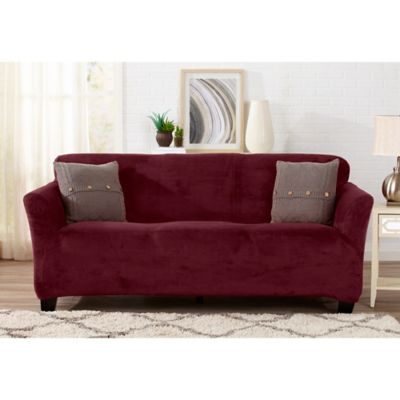 Great Bay Home Gale Strapless Sofa Slipcover In Red