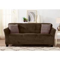 Sofa Saver Velvet Gale Strapless Sofa Slipcover in Brown