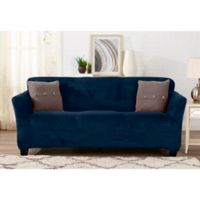 Sofa Saver Velvet Gale Strapless Sofa Slipcover in Dark Denim